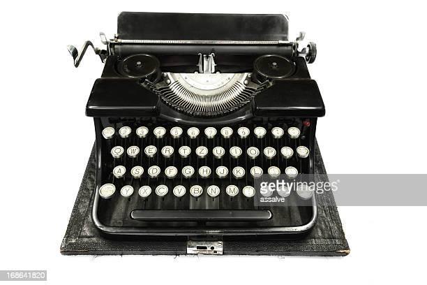 black antique typewriter