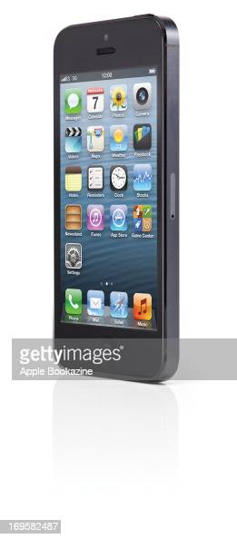 This image has been digitally manipulated A black Apple iPhone 5 smartphone taken on October 31 2012