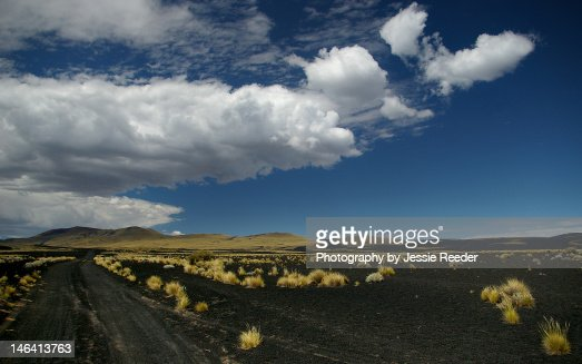 Black ash fields of Payunia : Stock Photo