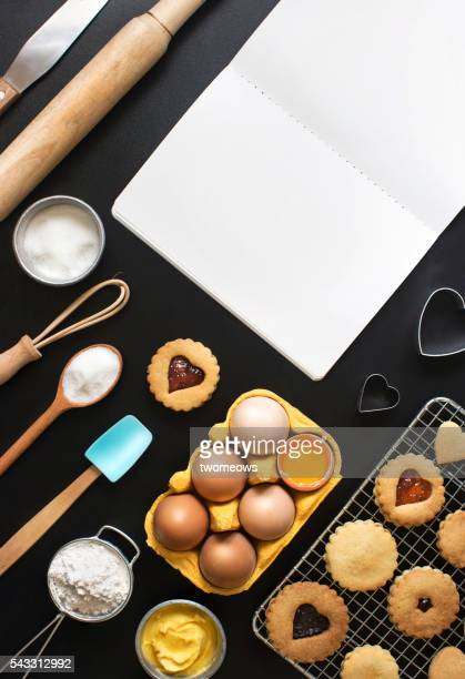 Black background bakery recipe text space images.