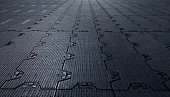 Black background floor rubber sub-genres to cover the premises. Sports Palace. Perspective
