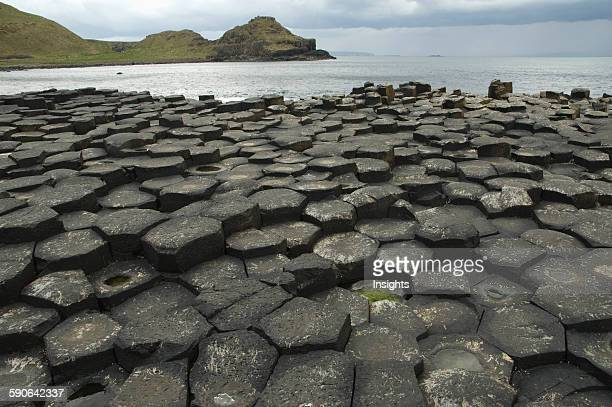Black Basalt Columns Sticking Out Of The Sea Giant's Causeway Northern Ireland United Kingdom