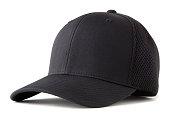 black baseball hat on white