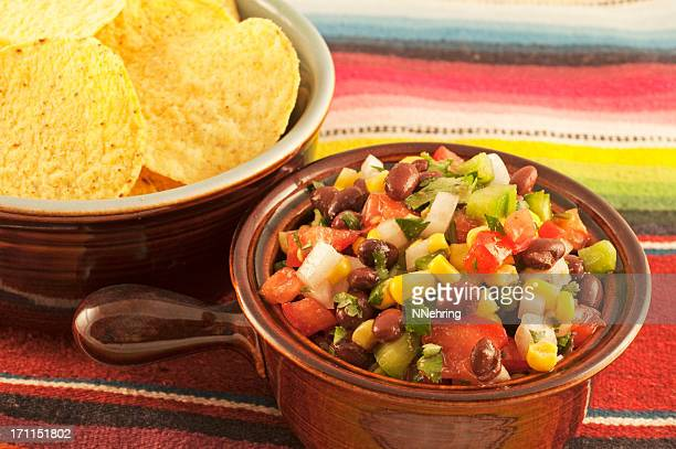 black bean and corn salsa served with tortilla chips