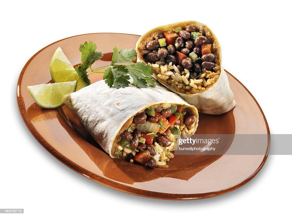 Black Bean Burrito on white : Stock Photo
