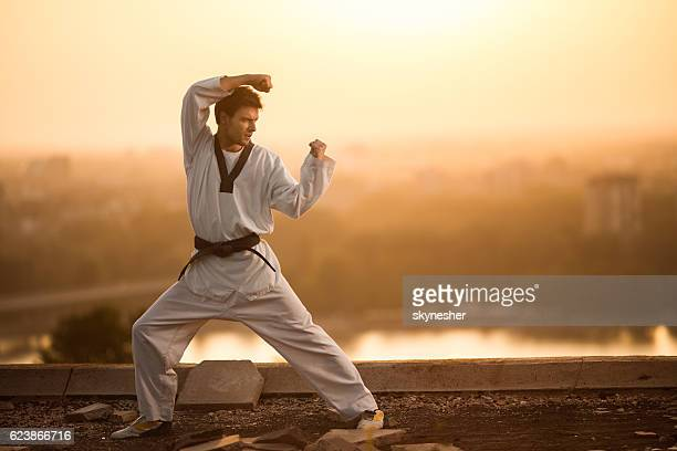 Black belt martial artist practicing karate at sunset.