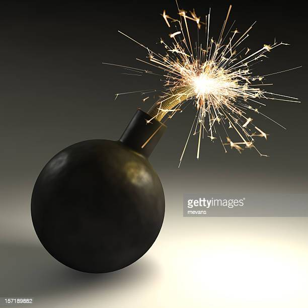 A black bomb with sparks coming out of the top