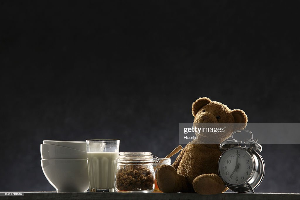 Breakfast Foods and Alarm Clock with Teddy Bear : Stock Photo