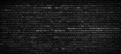 Black brick wall panoramic texture, brick surface for grunge background.