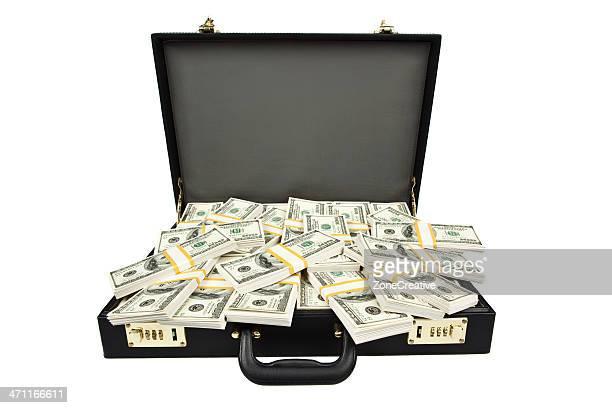 black briefcase full of hundred dollar money isolated on white