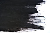 black brush strokes on white paper with one hand isolated