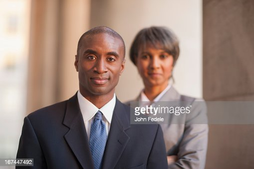 Black business people outdoors : Stock Photo