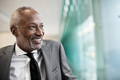 Black businessman smiling in office