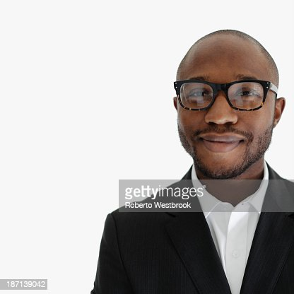 Black businessman smiling