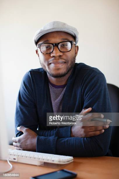 Black businessman working at desk