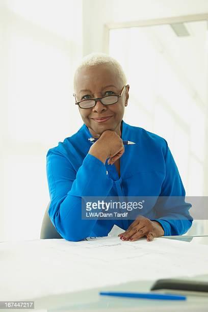Black businesswoman at desk