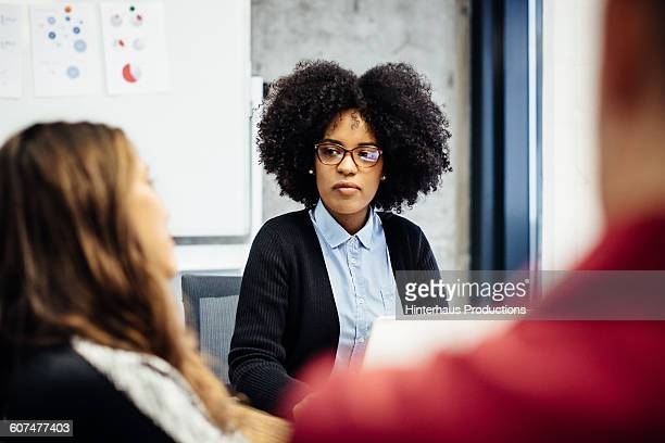 Black businesswoman during a meeting