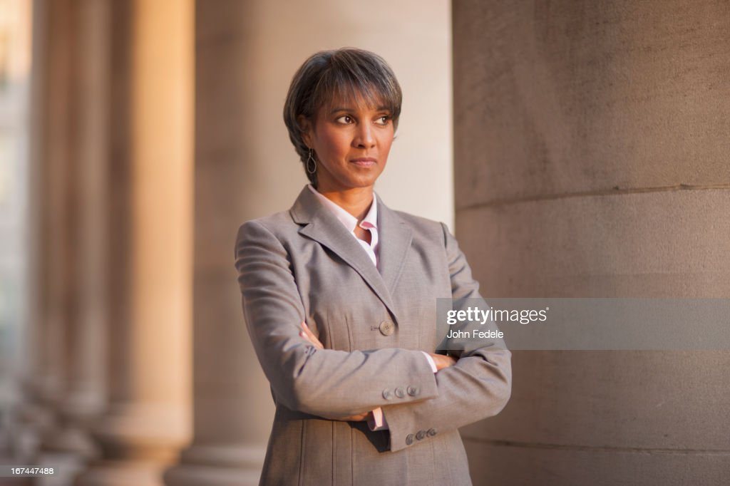 Black businesswoman outdoors : Stock Photo