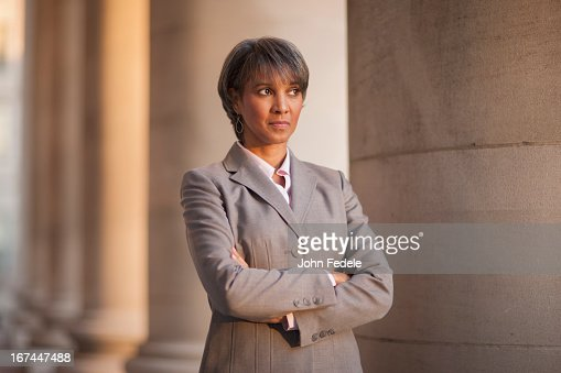 Black businesswoman outdoors : Stock Photo