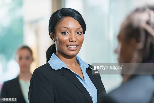 Black businesswoman smiling at the camera