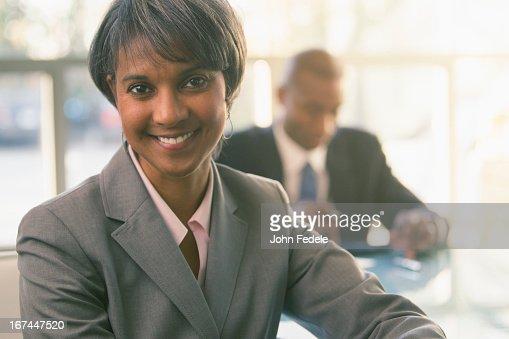 Black businesswoman smiling : Stock Photo
