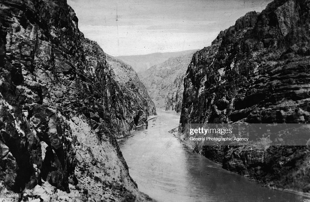 Black Canyon on the Boulder river in Colorado before work starts on the construction of the Boulder Dam.