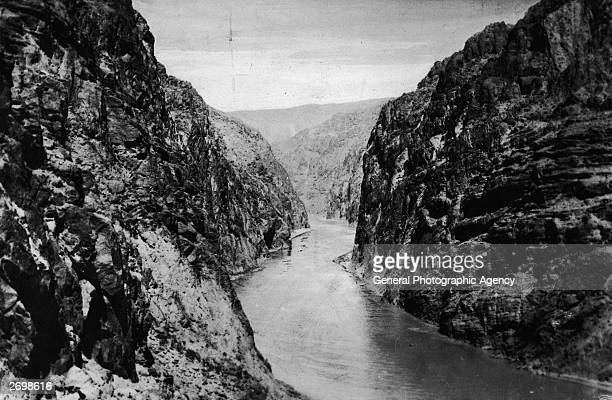 Black Canyon on the Boulder river in Colorado before work starts on the construction of the Boulder Dam