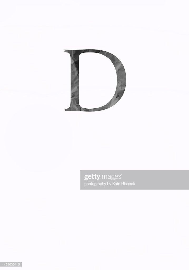 black capital letter D - paper cut : Stock Photo