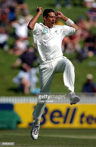 Black Caps Bowler Daryl Tuffey celebrates the wicket of Sanjay Bangar out for 1 during day two of the second Cricket Test between the New Zealand...