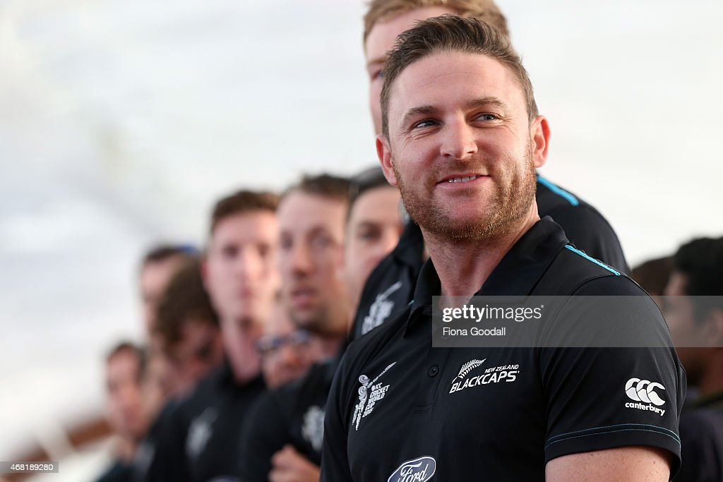 Black Caps captain <a gi-track='captionPersonalityLinkClicked' href=/galleries/search?phrase=Brendon+McCullum&family=editorial&specificpeople=208154 ng-click='$event.stopPropagation()'>Brendon McCullum</a> (R) and the team watch the haka during the Zealand Blackcaps Welcome Home Reception at Queen's Wharf on March 31, 2015 in Auckland, New Zealand. New Zealand had their most successful Cricket World Cup campaign by making the final of the tournament for the first time.