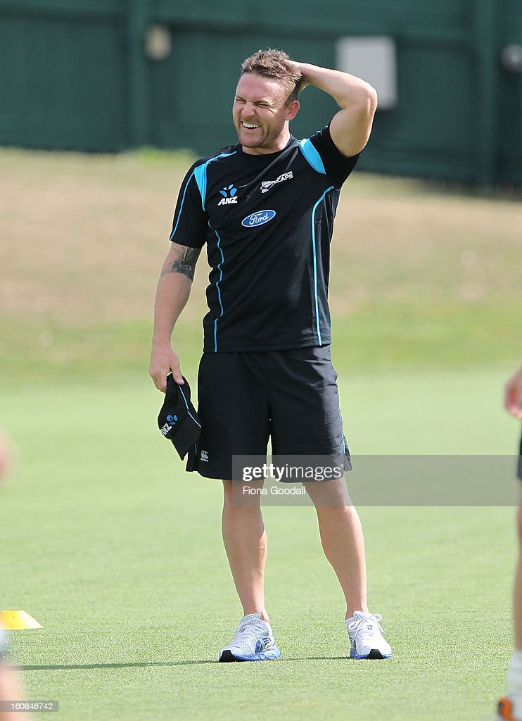 Black Caps captain Brendon McCullum during a New Zealand training session at Eden Park on February 7, 2013 in Auckland, New Zealand.