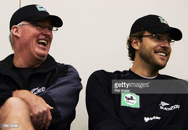 Black Caps coach John Bracewell and Daniel Vettori of the Black Caps share a laugh during a New Zealand Black Caps training session at Queenstown...