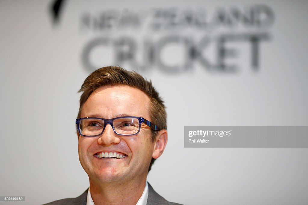 Black caps coach <a gi-track='captionPersonalityLinkClicked' href=/galleries/search?phrase=Mike+Hesson&family=editorial&specificpeople=9567309 ng-click='$event.stopPropagation()'>Mike Hesson</a> confirms Kane Williamson as the Black Caps captain across all formats during a New Zealand Black Caps press conference on April 28, 2016 in Auckland, New Zealand.
