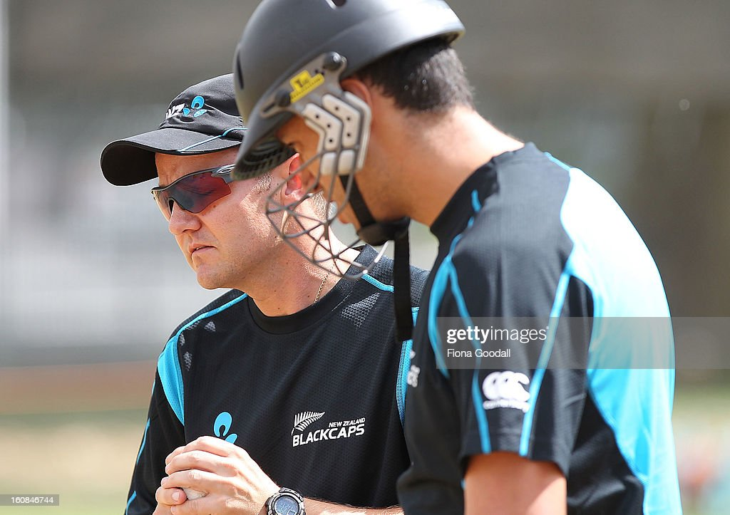 Black Caps coach Mike Hesson with former captain Ross Taylor, right during a New Zealand training session at Eden Park on February 7, 2013 in Auckland, New Zealand.