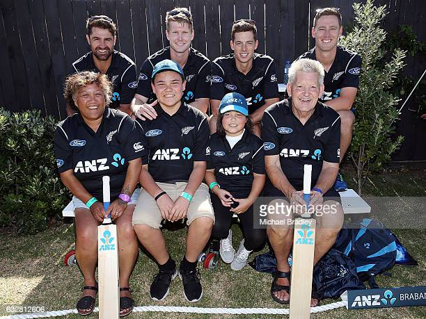 Black Caps Colin de Grandhomme Jimmy Neesham Mitchell Santner and Matt Henry with cricket fan Christopher BrabantHenry aged 14 and his sister Regan...