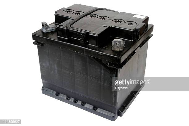 Black Car Battery Isolated On White