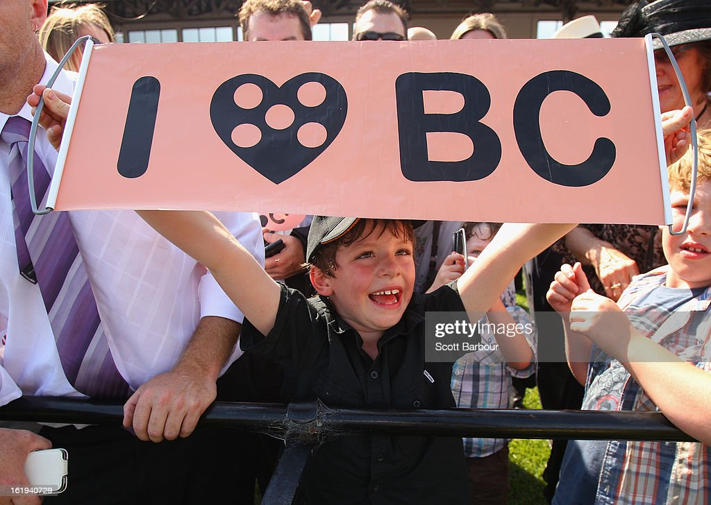 Black Caviar supporters show their support during Lightning Stakes Day at Flemington Racecourse on February 16, 2013 in Melbourne, Australia.