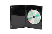 Black CD / DVD case isolated on white background. Front view