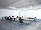 Black chairs boardroom interior with a long wooden table, panoramic windows and round ceiling lamps. A side view. Concept of business strategy. 3d rendering mock up