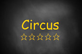 black chalkboard circus golden rating stars