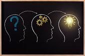 Black chalkboard human head process occurs brainstorm.