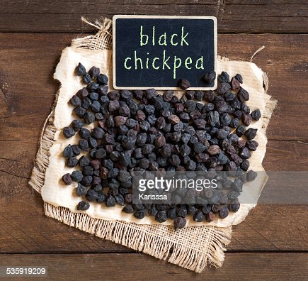 Black Chickpea with a small chalkboard : Stock Photo