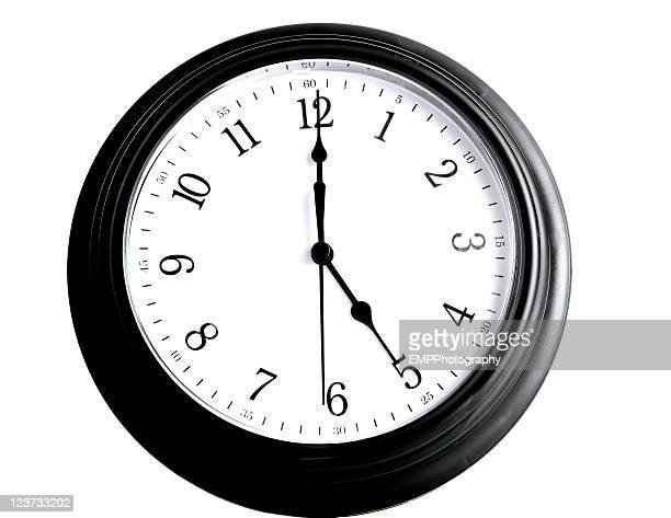 Black Clock Five O'Clock Isolated on White