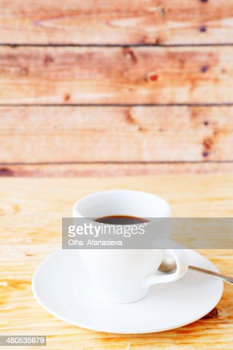 black coffee in a white cup : Bildbanksbilder
