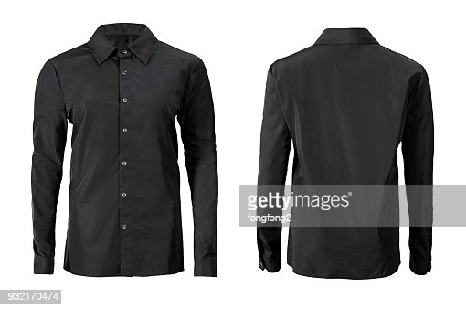 Black color formal shirt with button down collar isolated on white : Stock Photo