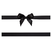 Black color, Ribbon - Sewing Item, Tied Bow, Gift, black friday, cut out