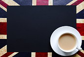 Black copy space for your text on background of British flag with a cup of tea