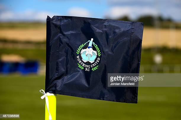 A black cornerflag is displayed in memory of Matthew Grimstone and Jacob Schilt two Worthing United players that lost their lives in the Shoreham...