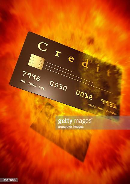 Black Credit Card in an Explosion