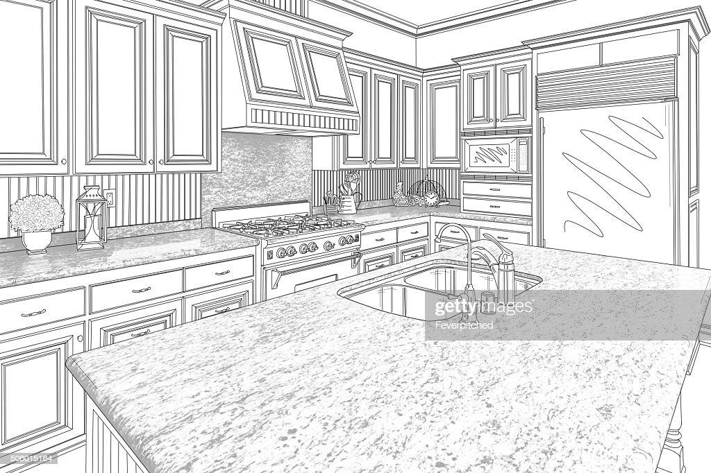 Black Custom Kitchen Design Drawing On White : Stock Photo
